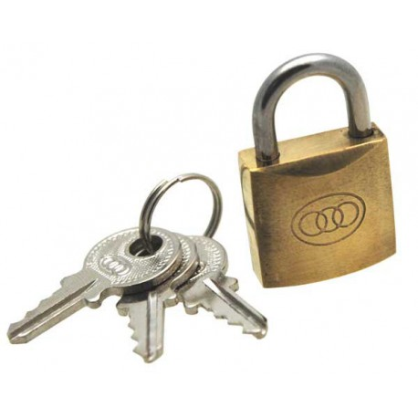 Tri-circle brass padlock, 20mm