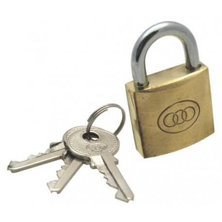 Tri-circle brass padlock, 32mm