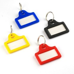 Mini plastic key tags in four colours