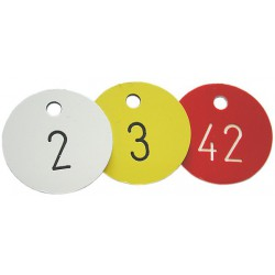 Engraved Disc, Red Key Tag with White Number