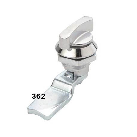 Quarter turn latch with curved handle, chrome, IP65 weather resistance