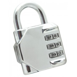 Locker Padlock, 3 Dial Combination, Chrome