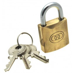 Tri-circle brass padlock, 25mm