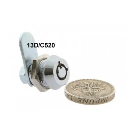 Micro size, 4 pin cam lock, 16mm, operated by the same key, complete with 25mm cam